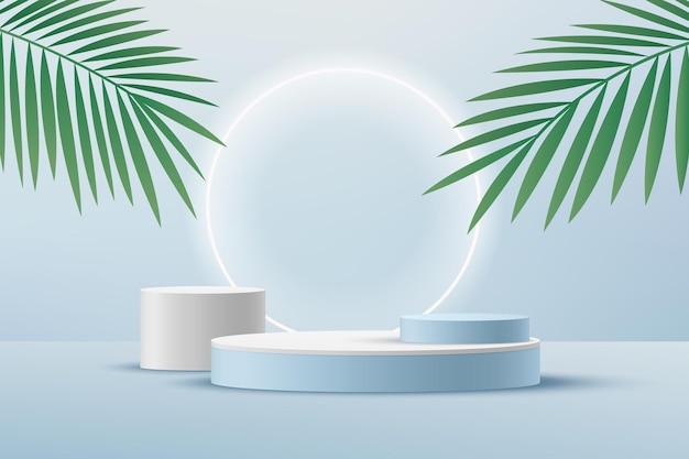 Pódio de pedestal de cilindro branco sala vazia azul clara com folha de palmeira verde anel de néon brilhante renderizando forma 3d