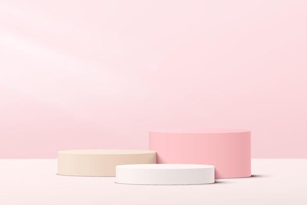 Pódio de pedestal de cilindro de etapas 3d brancas e rosa abstratas com cena de parede mínima em rosa pastel para apresentação de exposição de produtos cosméticos. projeto da plataforma de renderização geométrica do vetor. ilustração vetorial