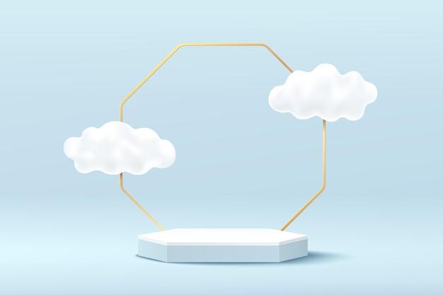 Pódio de pedestal de hexágono 3d abstrato branco e azul com fundo geométrico dourado e nuvens voando