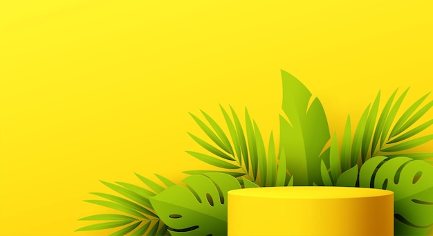 Pódio de produto amarelo com folhas de monstera