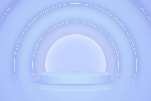 Pódio de produto azul com formas de anel