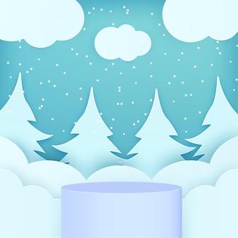 Pódio de produtos de inverno no vetor de fundo de estilo de arte de papel