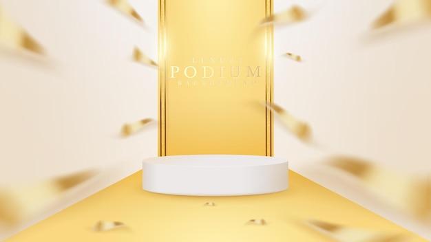 Pódio de show branco e linha dourada com fita e elementos de efeitos de luz cintilante e brilhante, design de cena de luxo para produto de banner.