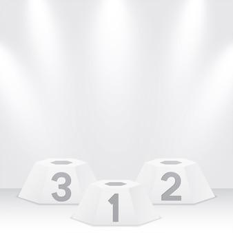 Pódio de vencedores branco com holofotes