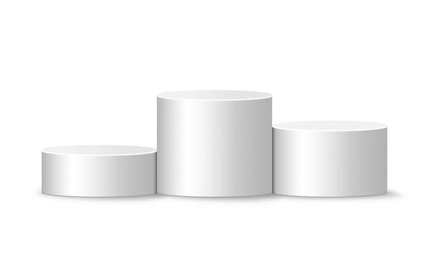 Pódio de vencedores brancos. modelo de pedestal realista redondo.