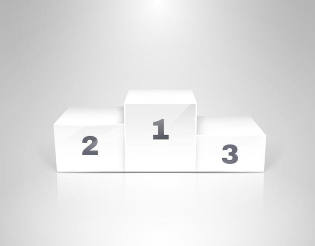 Pódio de vencedores brancos para ilustração vetorial de conceitos de negócios