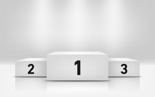 Pódio de vencedores com focos sobre fundo cinza, espaço para design. pedestal de campeão, ilustração em estilo realista