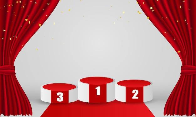 Pódio de vencedores com fundo vermelho cortina. design de eventos de inauguração.