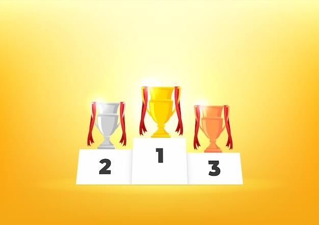 Pódio de vencedores com taças. prêmios para os campeões. taças de ouro, prata e bronze.