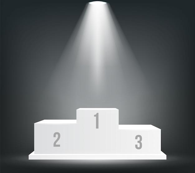 Pódio de vencedores de negócios, pedestal, cerimônia de premiação.