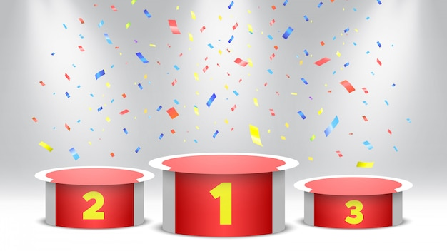 Pódio de vencedores de vermelho e branco com confetes. palco para cerimônia de premiação. pedestal com holofotes. ilustração.