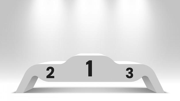 Pódio de vencedores em branco branco com holofotes. pedestal. ilustração.