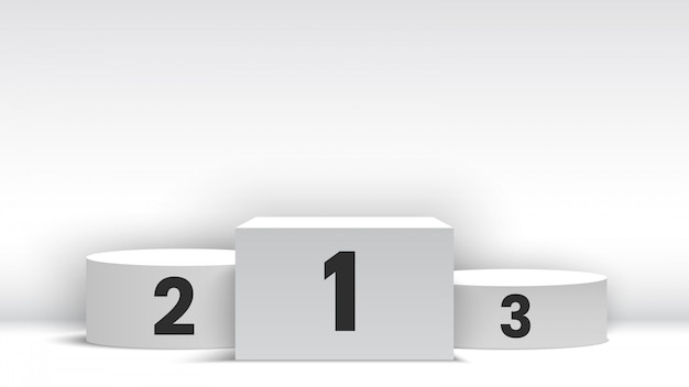 Pódio de vencedores em branco branco. pedestal. ilustração.