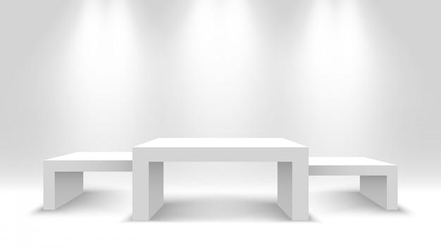 Pódio de vencedores em branco branco. stand de exposição com holofotes. pedestal. ilustração.