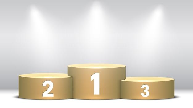 Pódio de vencedores em branco com holofotes. pedestal.