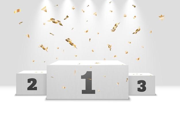 Pódio de vencedores realista com confete