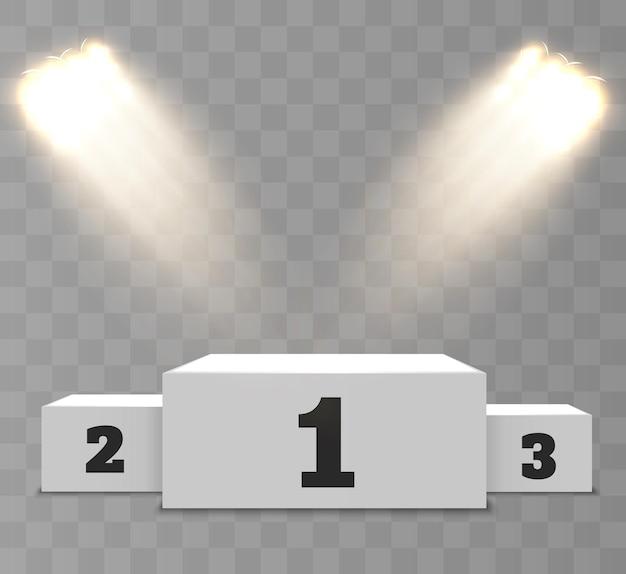 Pódio de vencedores realista em um transparente com belas luzes.