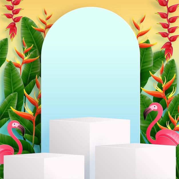 Pódio de verão com flores tropicais coloridas