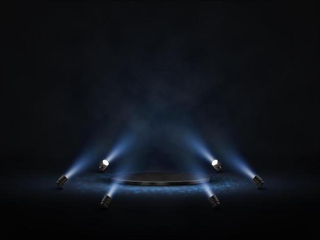 Pódio de vetor com iluminação. palco, pódio, cena para cerimônia de premiação com holofotes.