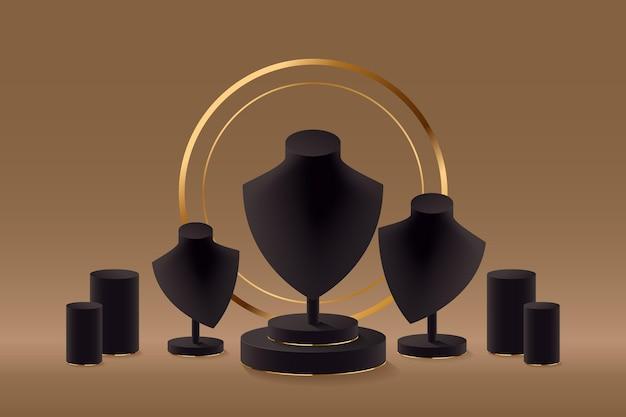 Pódio de vitrine de joias realistas