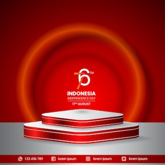 Pódio display 3d banner para a independência da indonésia, dia 17 de agosto