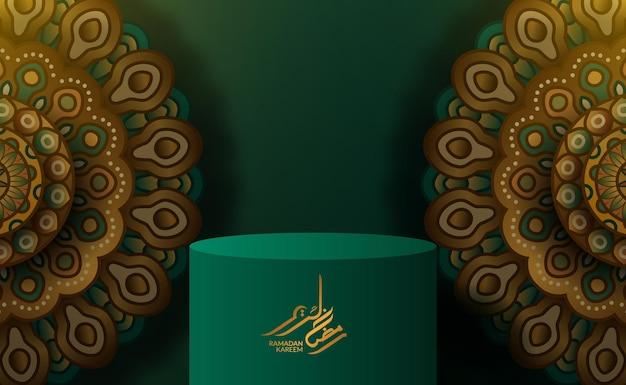 Pódio do cilindro 3d para ramadan kareem mubarak com cor verde, padrão islâmico, decoração de ornamento de mandala
