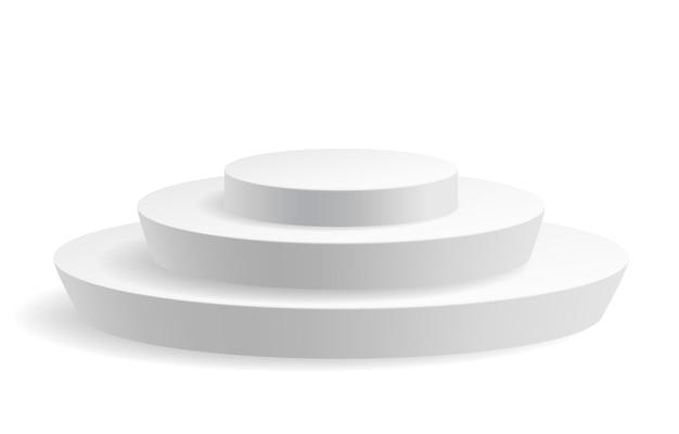 Pódio do cilindro branco com uma etapa, palco da plataforma do prêmio do vencedor da competição
