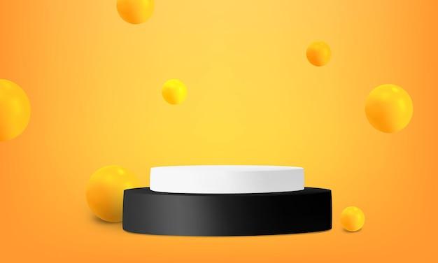 Pódio do cilindro preto e branco laranja
