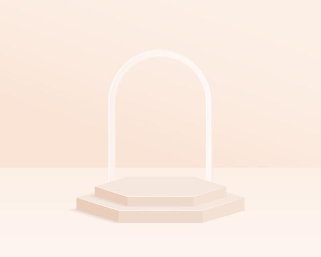 Pódio do cilindro vazio. cena mínima abstrata com objeto de forma geométrica.
