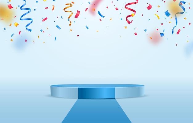 Pódio do palco azul com confetes coloridos caindo sobre fundo claro, parabéns do vencedor