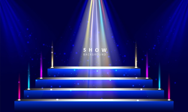 Pódio do palco com fundo de efeito de luz