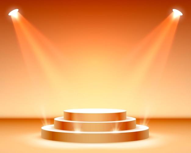 Pódio do palco com iluminação, cena do pódio do palco com cerimônia de premiação em fundo laranja, ilustração vetorial