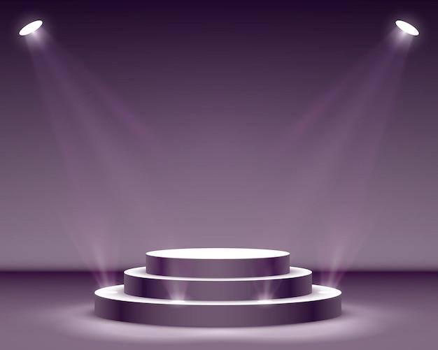Pódio do palco com iluminação, cena do pódio do palco com cerimônia de premiação em fundo preto, ilustração vetorial
