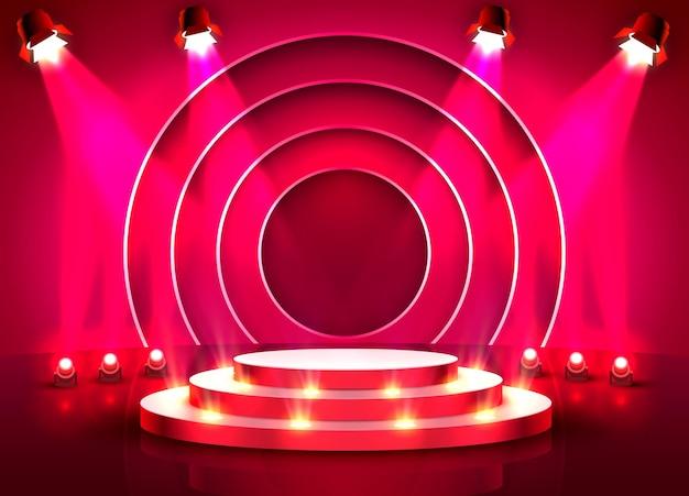 Pódio do palco com iluminação, cena do pódio do palco com cerimônia de premiação em fundo vermelho.