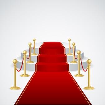 Pódio do palco com tapete vermelho para a cerimônia de premiação
