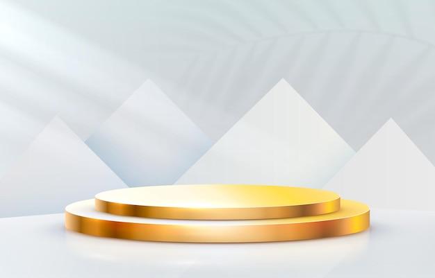 Pódio do palco dourado com formas de triângulos em fundo cinza