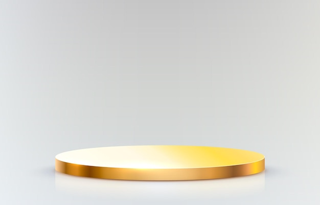 Pódio do palco dourado em fundo cinza