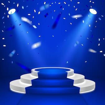 Pódio do palco redondo. cena festiva no pódio com tapete azul e confetes