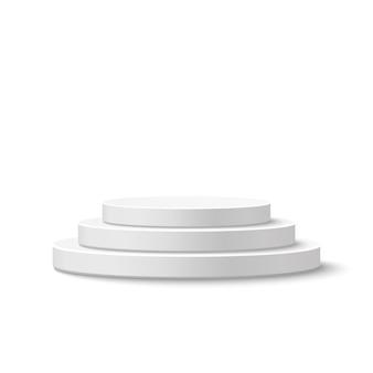 Pódio do palco redondo, pedestal em fundo branco. ilustração.