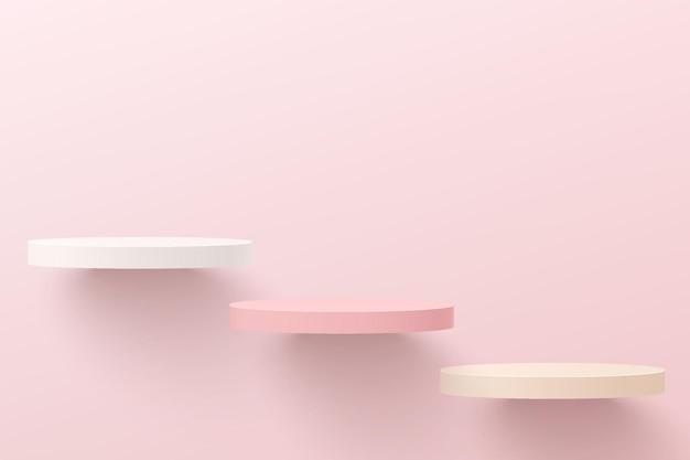 Pódio do pedestal do cilindro 3d branco e rosa abstrato flutuando no ar. cena de parede mínima em rosa pastel para apresentação de exibição de produtos cosméticos, vitrine. projeto da plataforma de renderização geométrica do vetor.