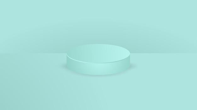 Pódio do pedestal do cilindro verde claro. vetor abstrato que rende a forma 3d. apresentação de exposição de produtos cosméticos. cena de parede mínima.