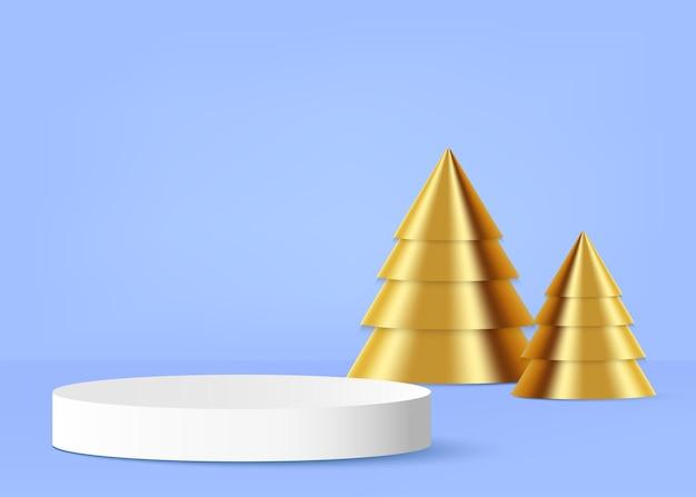 Pódio do produto com árvore de natal dourada no vetor de fundo