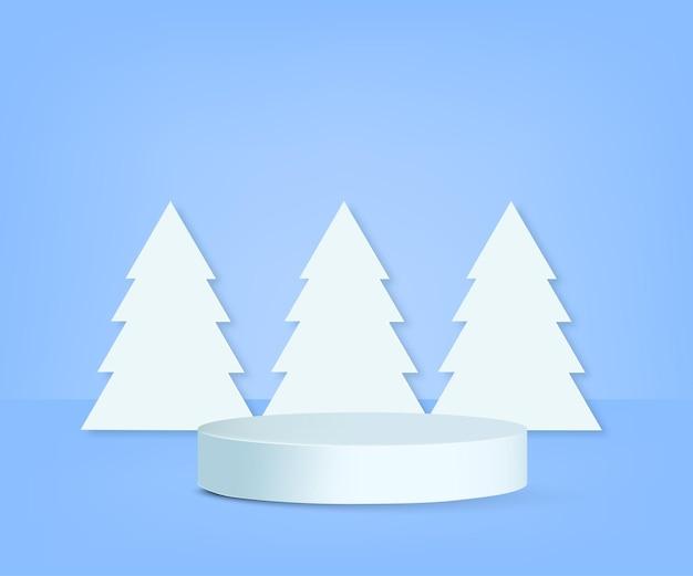Pódio do produto com árvores de natal vector
