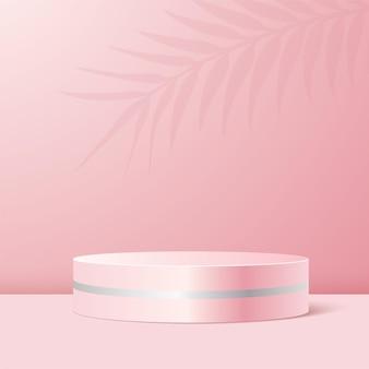 Pódio do produto em fundo rosa pastel.