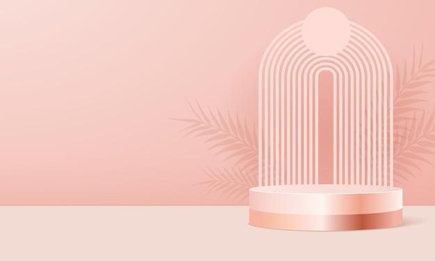 Pódio do produto em fundo rosa