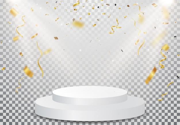 Pódio do vencedor com celebração de confetes de ouro em transparente
