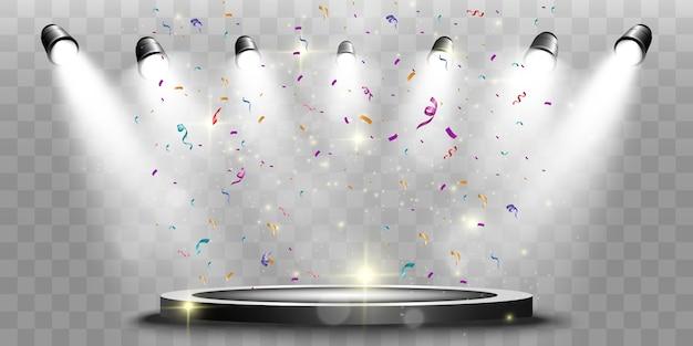 Pódio do vencedor com holofotes e confetes em um pedestal redondo.