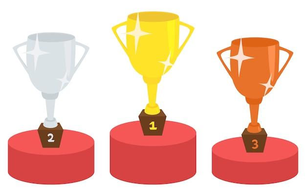 Pódio do vencedor com o conceito de vitória de copos de troféu