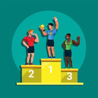 Pódio do vencedor do atleta com vetor de ilustração de esporte de competição de medalha e tropia