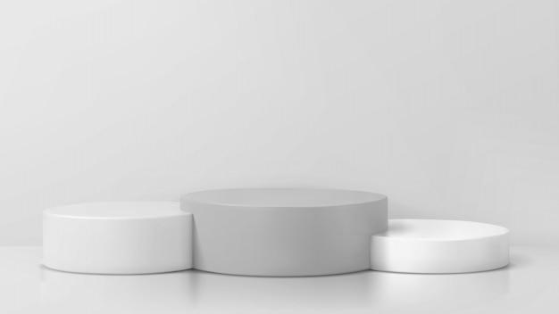 Pódio do vencedor e suporte em branco sobre fundo de pedestal. pódio de estúdio em branco para publicidade. ilustração 3d